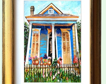 """New Orleans Antique Gold Framed Shotgun House Art """"Bloom Street"""" 10.25 x 12.25"""" and 13.25x16.25"""" Matted Print Signed and Numbered"""