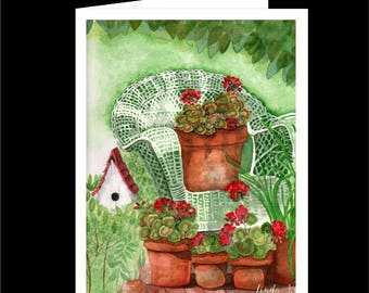 Note Card Set-Geraniums & Wicker-Watercolour