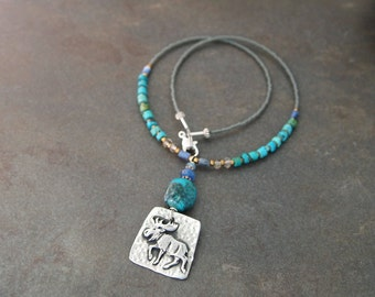 Beaded Turquoise Moose Necklace