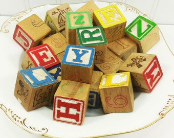 Old Wood Building Blocks, 22 Vintage Wooden Blocks with Letters and Pictures in Bright Colors