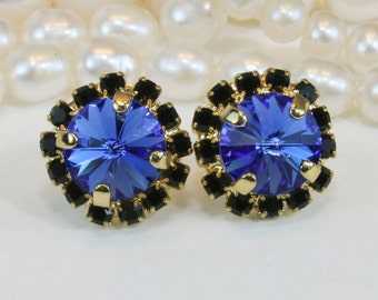 Royal Blue Black Stud earrings Bridal Sapphire Blue Post earrings Bridesmaids Earrings swarovski rhinestones Crystals Gold,Sapphire, GE95