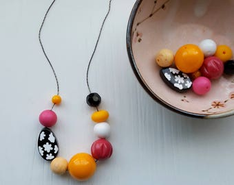 sketchbook necklace - remixed upcycled bead - chunky necklace - vintage beads - black, white, fuchsia, hot pink, orange, clouds, flowers