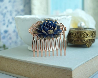 Rose Gold Comb Navy Blue Gold Comb Blue Wedding Rustic Navy Blue Rose Gold Comb Something Blue Wedding Bridesmaids Gifts Blue and Gold