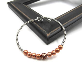 NEW 5mm Copper Stainless Beaded - Memory Wire Bracelet - Adjustable (SSBR274)