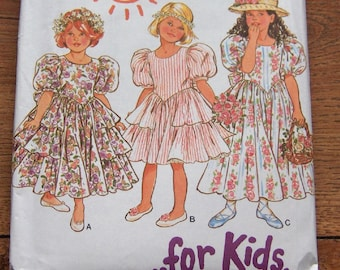 new look sewing pattern 6210 girls child dress special occasion ruffles uncut sz 3-8