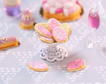 Arabesque Swirls Cookie Display on Shabby Chic Stand (Two Loose) - Miniature Food in 1/12th Scale
