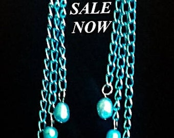 Long Turquoise alunimum chain and Freshwater Pearl earrings with .925 Sterling French Fish hook earwires