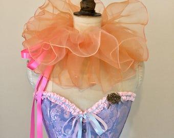 Circus neck ruff - Peach neck ruff - Opera shrug - Clown costume - Festival ruff.