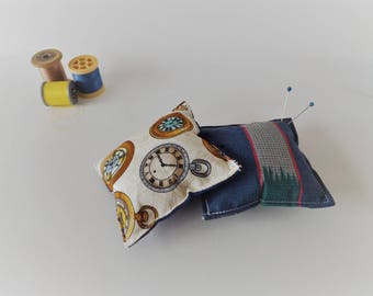 Recycled Fabric Swatch, Scrap and Offcut Pin Cushion with Eco Friendly Wadding, Clocks or Stripes Print.