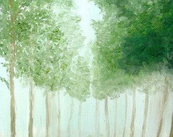 "Tree Art, Green Art, Nature, Forest, Landscape Art, Serenity, Pathway, Garden Art- Giclee Print of Fine Art Acrylic Painting- ""Trees"""