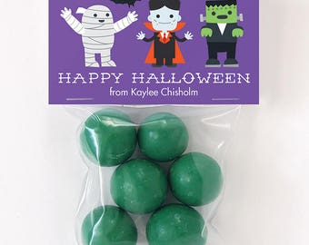 Halloween Treat Labels & Tags - Halloween Monsters - Set of 24 personalized paper tags and 24 treat bags
