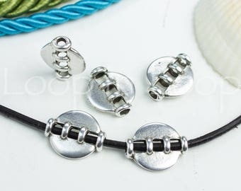Antique Silver Disc Bead Spacer Open oval tube Slider bead for 2mm Round leather Cord Silver Plated European quality Metal Beads P15  2pcs