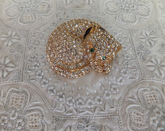 Vintage Pave Rhinestone Cat Kitten Brooch Pin Goldtone