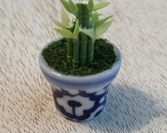 Miniature Bamboo, Plant in Blue & White Ceramic Pot, Lucky Bamboo, Dollhouse Miniature, 1:12 Scale, Dollhouse Accessory, Decor, Crafts