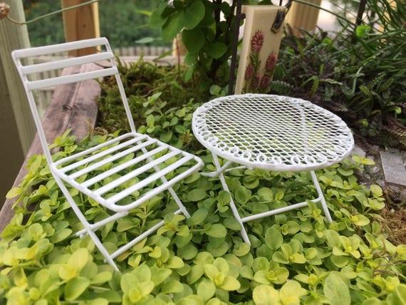 Mini Metal Fairy Garden Furniture, White Table and Chair Set, 2 Pcs, Mini Patio Set,  Garden Decor, Fairy Garden Accessory, Topper