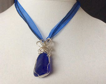 Tumbled Glass Deep Blue Wrapped in Silver on Ribbon