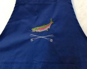 Embroidered Apron Fly Fishing Fly Tying Apron
