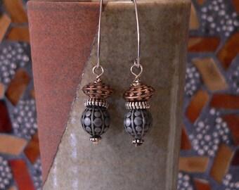 Dangle earring, mixed metal, metal earring, boho earring, simple earring, sallys beads nc, long earring, slim earring, gift for women