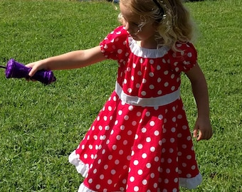 Little Girl Classic Twirly Dress with Bow,  Red Polka Dot Dress with Bow,  Size 4 , Ready to ship dress