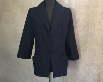 Vintage 40's Jacket, 40's Blazer, Navy Blue 40s Jacket, Women's Size Large, Fitted Hourglass, Shoulder Pads, Bust 39