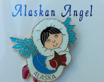 Alaskan Angel Vintage Enamel Pin, Alaska Poem, Lapel Pin