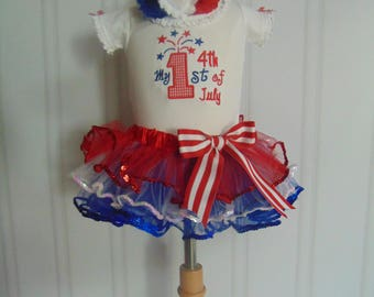 4th of July  Outfit- 1st 4th of July Outfit- Cute Embroidered and Personalized Onesie/T-Shirt/Tutu and Headband Independence Day