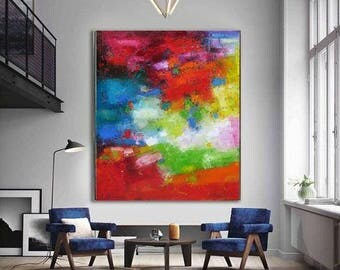 """XL Bold Bright red Green Blue Abstract oil on canvas original art for spectacular interiors Large Abstract painting oil on canvas 31""""x37"""""""