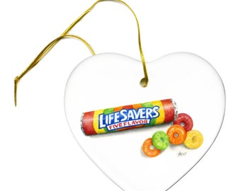 Artist Original Life Savers Candy Art Print on a Heart Ceramic Hanging Ornament