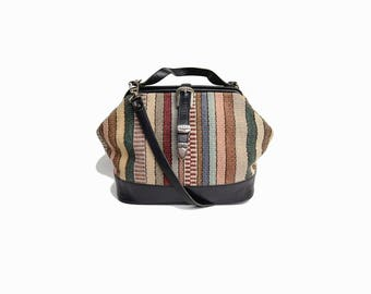 Vintage Striped Mexican Blanket Bag / Boho Southwestern Purse / Black Leather Purse / Hinged Bag