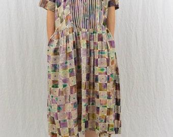Vintage Patchwork Hippie Dress, Size Medium, 80's-90's, Festival Clothing, Boho, Unique Dress, Quirky, Midi Dress, Earthy, Tie Dye, Galaxy