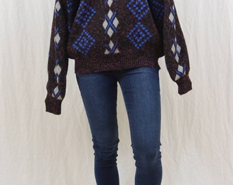 Vintage Geometric Sweater, 80's, Size Large-XL, Unisex, Men's, Stranger Things, Hipster, Indie Clothing