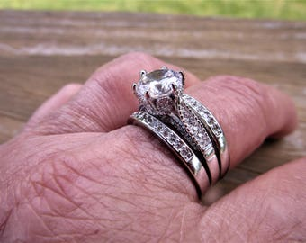 Beautiful Vintage Engagement Tacori CZ /Styled/ 925 Sterling Silver Engagement Ring/ Silver Metal Rodium Plated CZ Bands