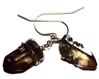 Brown Topaz Earrings Gold (11.5 tctw) Raw Topaz Crystal Earrings, Topaz Dangle Earrings, 14k Gold Topaz Drop Earrings, Gem Earrings in Gold