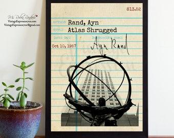 Ayn Rand, Atlas Shrugged, Vintage Library Card Art, Book Art, Silhouette Print