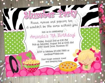 Slumber Party Invitation invite Sleepover Birthday Party Invitation Pajama Party Printable CHOOSE YOUR GIRL
