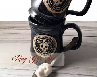 Valentine Coffee Mug Gift Set for Skull Fanatics & Nightmare Before Christmas Fans // Coffee Gift // Black Mug, Sugar Skulls, Sugar Cubes