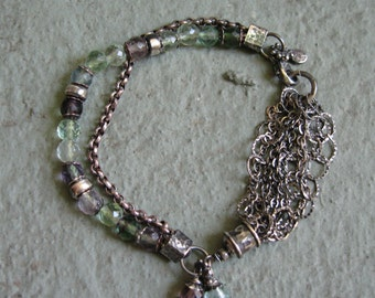 Sterling Silver & Fluorite Bracelet - Charms, Dangles, Chain - Purple Pink Blue Green
