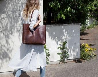 Spring SALE Large Dark Brown Leather Tote bag No. LPB-1013