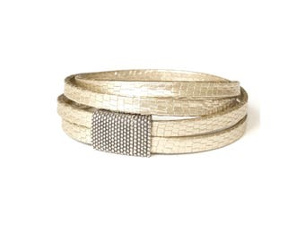 Gold Leather Wrap Bracelet