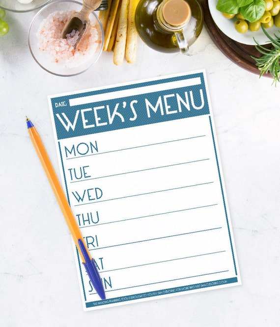 Printable Menu Planner Weekly Food Family Organizer Chart