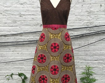 Brown & Pink Cotton Eyelet and African Print Tea-length Summer Dress, size Medium