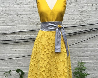 Sunflower Yellow Tea-Length A-line Summer Dress, size Small, One-of-a-Kind