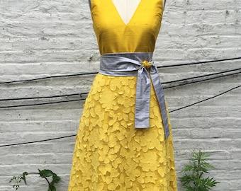 Sunflower Yellow Tea-Length A-line Summer Dress, size Small, One-of-a-Kind