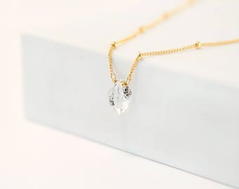 Dainty Raw Diamond Necklace, Satellite Chain Necklace, 14k Gold Filled, Sterling Silver, Simple Choker, Minimal Necklace, Gift for Her