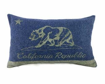 California Flag Pillow Cover from Military Blanket - Navy Blue & Champagne Metallic (add'l colors avail)