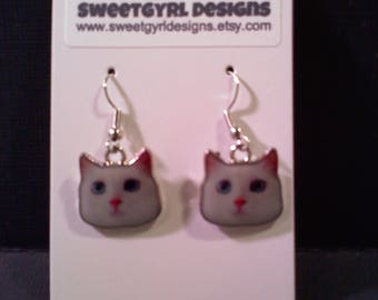 CAT Earrings- White with Blue Eyes