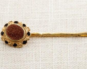 Gold Medallion Copper Glitter Center Hair Clip Embellished Bobby Pin Handmade in USA Hair Pins 16V