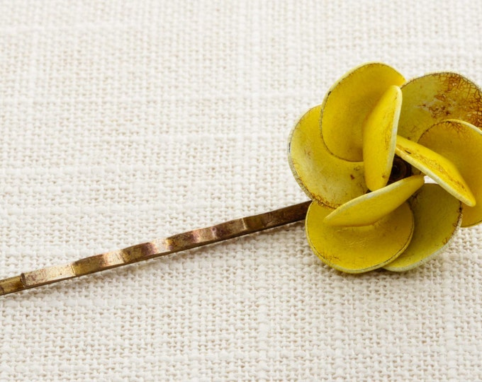 Yellow Enamel Flower Hair Clip Embellished Bobby Pin Handmade in USA Hair Pins 16V