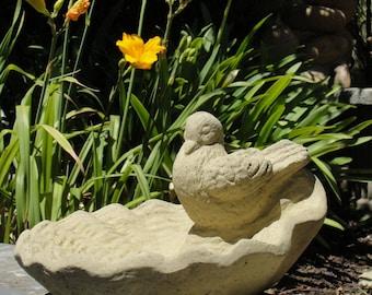 VINTAGE DOVE BIRDFEEDER Solid Stone Bird Bath w/ Worn Texture and Detail. Sealed for Accent Decor Bird Feeder for Patio, Lawn Outdoor Use