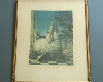 "Walter Ernest Webster art deco framed print  ""Pierrot Beguiles"" - c 1920s"
